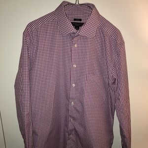 Pronto Uomo Non-Iron Dress Shirt | L | Pink/Navy